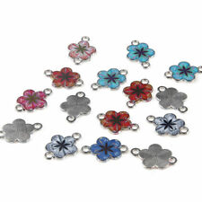 10pc Enamel Multicolor Flower Beads Connector Charms Fit DIY Bracelet/Necklace