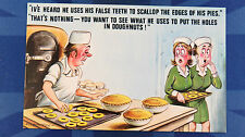 A Bamforth Risque Comic Postcard 1970s Dentist Orthodontist False Teeth Doughnut