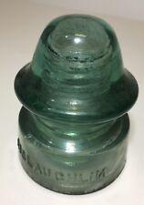 McLAUGHLIN No. 20 VTG GLASS INSULATOR Rare BACKWARDS 'N' - Blue Green (Inv6)