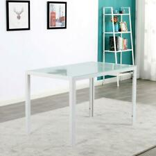 120cm Home Tempered Glass Dinner Table White Study Computer Office Desk Table