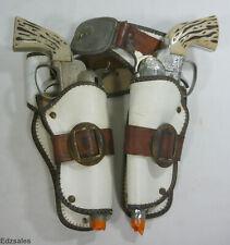 2 Vintage Fanner 50 Mattel Toy Cap Guns w/ White Double Holster Belt Set