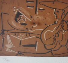 PABLO PICASSO  Woman + guitar playing Picador HAND NUMBERED 185/333 signed LITHO