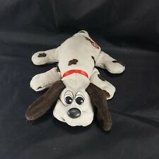 "Vintage Pound Puppy Plush Grey And Black Dog with collar 8"" Long Stuffed Animal"