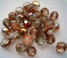 30 Böhmische geschliffene Glasperlen  8 mm Kupferfarben AB # 135