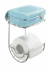 Toilet roll holder with tray for wet wipes no drilling,