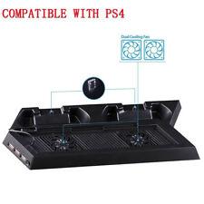 Black PS4 Cooling Station Vertical Stand 2 Controller Charging Dock USB Hub