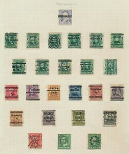US STAMPS 1902-1922 PAGE OF PRECANCELS INC INVERTED DANBURY, PHILADELPHIA ETC