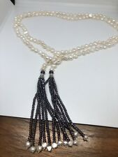 White Baroque Freshwater Real Pearl Lariat 54 In Necklace