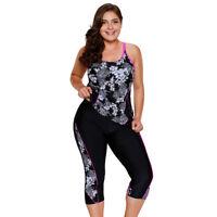 Zeffimore Womens Floral Tankini Swimsuit w/ Swim Capri Plus Size 2 PCS Swimwear