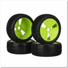4x RC1:8 Off Road T-word Pattern Rubber Tire & Green 3 Holes Plastic Wheel Rims