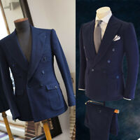 Blue Mens Suits Wool Blend Slim Fit Groom Pants Groomsman Wedding Tuxedos Prom