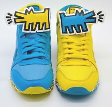 New Reebok Keith Haring Cl Leather Mid Strap Lux Blue/Yellow Dog Pump Rare Retro