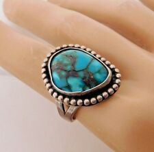 Vtg Pawn Southwestern Navajo Sterling Silver Turquoise Ring sz 7.5