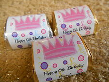 GLOSSY PRINCESS CROWN PERSONALIZED HERSHEY NUGGET WRAPPERS BIRTHDAY PARTY FAVORS