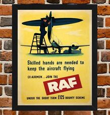 Framed Join The RAF WW2 Recruitment Poster A4 Size Mounted In Black Frame