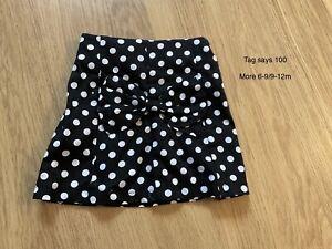 Baby Girl Black And White Polka Dot Skirt. Size 100.