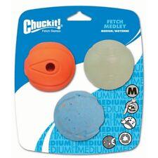 Chuckit Medley Ball Dog Fetch Toy 3Pk Whistler Max Glow Ultra Medium Balls 6.5cm