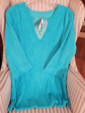 RARE!...NWT!  FRESH PRODUCE TERRY TUNIC / BEACH DRESS / COVERUP.IN TURQU.. (M/L)