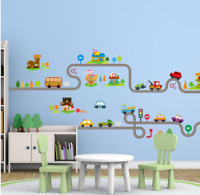 Wall stickers  car world track truck shops Decor Removable Nursery Kids Baby