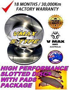 S SLOT fits SAAB 9-3 2.8L V6 Turbo 2005 Onwards FRONT Disc Brake Rotors & PADS