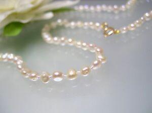 "Vintage fancy oval freeform Japanese Biwa pearl necklace 14k gold clasp 16-30"""