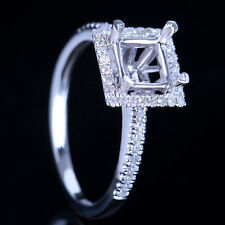 14K WHITE GOLD 5.5-6MM PRINCESS CUT SEMI MOUNT RING SETTING NATURAL DIAMOND RING