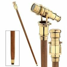 Wooden 3 fold Walking Cane Stick with Hidden spy Brass Telescope on Handle