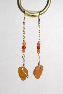 Golden Sea glass 14k filled gold earrings
