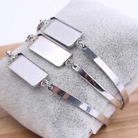 5pcs Stainless Steel Bracelet Blanks DIY Rectangle Cabochon Base Jewelry Making