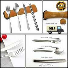 Cutlery Utensils Set Camping 4Pc Knife Fork Spoon Chopstick Carry Outdoor Travel