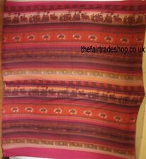 Cotton double bedspread RED khadi elephant FAIR TRADE cover throw wallhanging
