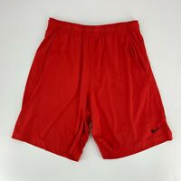 Nike Men Red Pull On Gym Shorts Size XL Dri Fit Elastic Waist Basketball Casual