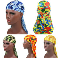 Breathable Waves Rags Men's Silky Turban Pirate Hat  Camo Durags  Headband
