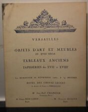 Catalogue Vente1962 Versailles Objets D'art meubles XVII&XVIIIè H.Chevau-Légers