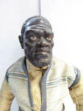 "18th C. Antique Black Man Creche Doll Glass Eyes Stands 14 1/4"" Tall Rare Piece"