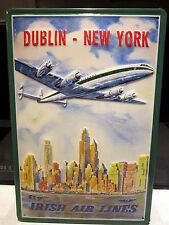 IRISH AIR LINES, DUBLIN TO NY :EMBOSSED(3D) METAL ADVERTISING SIGN 30x20cm