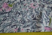 "45"" Long x 36"" Wide Vintage Feedsack Cotton, White Gray Pink Floral, N1207"