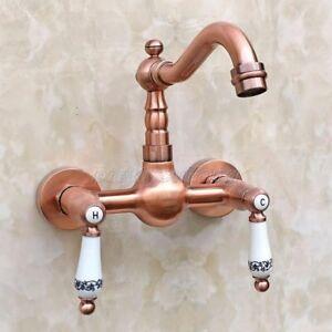 Antique Red Copper Wall Mount Kitchen Faucet Basin Mixer Tap Swivel Spout Prg033