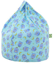 Large Adult / Teen Size Blue Owls Bean Bag With Beans By Bean Lazy