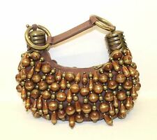 CHLOE Ladies Brown & Gold Metallic Large Beaded 'Bracelet' Small Size Handbag