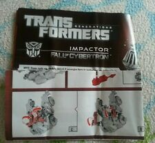 Transformers FALL OF CYBERTRON IMPACTOR INSTRUCTION BOOKLET ONLY
