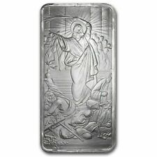 10oz Jesus Clears The Temple BU Bar Silver Shield .999 USA Made ***