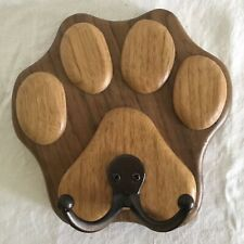 Hand Crafted Wood Paw Print Dog Pet Leash Wall Hook with Slotted Hanger