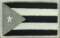 PUERTO RICO Flag Embroidered Iron-On Patch Black & Gray Military Version  #064