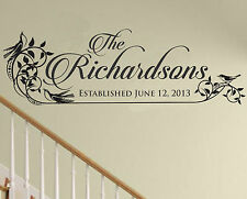 Personalized Family Name Sign Family Established Decal Family Wall Decal Wedding