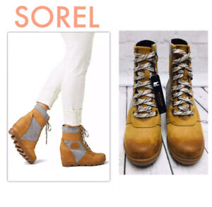 SOREL Women's US 5 Shoes Lexie Wedge NuBuck Closed Toe Ankle Boots Brown  NEW