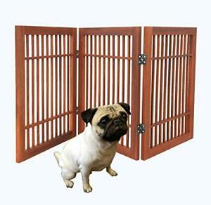 Pet Dog gate Strong and Durable 3 Panel Solid Acacia Hardwood Folding Fence