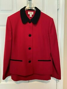 Womans Talbots Petites Red with Black Trim Skirt Suit  - Size 10