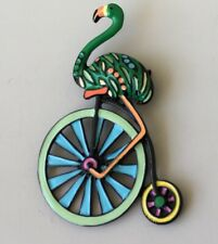 Vintage style flamingo on bicycle  brooch pin in enamel on metal