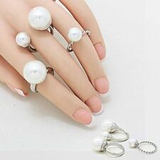 Silver and White Pearl Knuckle-Midi Ring Set